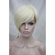 高品質の耐熱性合成繊維非対称傾い前髪ブロンドのかつらを淡