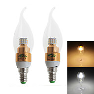 Zweihnder E14 3W 280LM 3000/6000K 30x3014 SMD LEDs Cool/Warm White Candle Light (AC 100-240V,2Pcs)