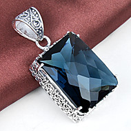 unikke firkantede antikke brand london blå topas perle 925 sølv halskæder vedhæng til bryllupsfest daglige afslappet 1pc
