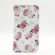 Rose Flower Pattern PU Leahter Full Body Case with Card Slot for Samsung Galaxy J5