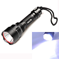 Warsun C8 Rechargeable 3-Mode 1xCree XM-L T6 LED White Light Flashlight kit with Strap (350LM,1x18650,Black)