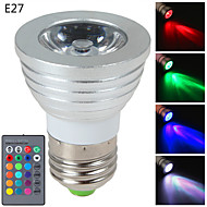 1 pcs E14 / GU10 / E26/E27 3W 1 High Power LED 270 LM RGB Dimmable / Remote-Controlled LED Spotlight AC 85-265 V