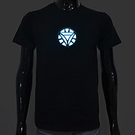 Rechargeable Battery Included Light Up LED EL T-shirt Iron Man 2 Adjustable Sound Activated and Multiple Flash Modes