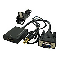 PC VGA Male to HDMI Female Output 1080P HD with Audio 3.5mm Video Converter Box Adapter Cable with USB Power
