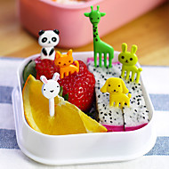 10db állat alakú bento kawaii állateledel gyümölcs felveszi villákat ebéd doboz tartozék dekoráció eszköz (véletlenszerű szín)