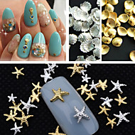 150PCS Mixed Size Gold Silver Metal Starfish Shell Rivet Nail Art Decorations