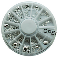 1 Piece Silver Alloy Metal Nail Starfish Shell Different Shape Round Wheel Popular for Ladies New Design