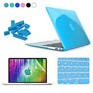 Enkay 4 en 1 caja de cristal + protector + cine + teclado anti-polvo tapones protectores duros para el aire del macbook 11.6 pulgadas