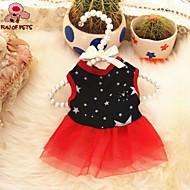 고양이 개 드레스 레드 블랙 강아지 의류 여름 모든계절/가을 별 캐쥬얼/데일리