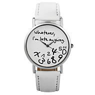 New Fashion Women Leather Wristwatches Letter Geneva Watch Whatever I'M Already Late Irregular Figure Quartz Watch