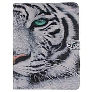 patrón de tigre blanco de la PU cuero caso de cuerpo completo con soporte y tarjeta de la ranura para el ipad 2/3/4