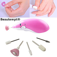 5in1 Electric Manicure/Pedicure Set Nail Grinding Polish Buff Drill&5 Assembling Cone Heads(Powered by 2 AAA Battery)