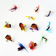 12 pçs Moscas Iscas Moscas Cores Sortidas g/Onça mm polegada,Metal Pesca Voadora