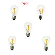 5pcs  A60 4W E27 400LM 360 Degree Warm/Cool White Color Edison Filament Light LED Filament Lamp (AC220V)