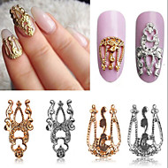 10pcs 3D Hollow Nail Art Alloy Tips Decoration Jewelry Glitter Rhinestone