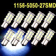 10 x vita 1156 BA15s ledde 27-smd glödlampor svans backup rv sommarlägret 1141 1003 oss