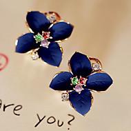 Κουμπωτά Σκουλαρίκια Κρεμαστά Σκουλαρίκια Μαργαριτάρι Κρύσταλλο Επιχρυσωμένο απομίμηση διαμαντιών Μοντέρνα Flower Shape Λευκό Ουράνιο Τόξο