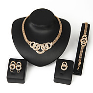Women's Alloy Golden Crystal Neclace & Earrings Jewelry Set