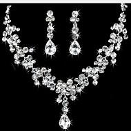 ジュエリーセット イヤリング ストランドネックレス ファッション Elegant キュービックジルコニア ラインストーン 銀メッキ イミテーションダイヤモンド ティアドロップ ホワイト ネックレス イヤリング・ピアス のために 結婚式 パーティー 婚約 1セット
