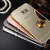 placage miroir arrière en métal cas de téléphone de trame pour galaxie s7 s4 s5 s6 bord, plus