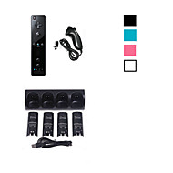4 x Battery & Charger Station Dock + Remote Controller and Nunchuk for Nintendo Wii