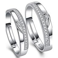 指輪 調整可能 結婚式 / パーティー / 日常 / カジュアル ジュエリー 純銀製 / キュービックジルコニア 女性 / 男性 / 夫婦 カップルリング 2 個,調整可 シルバー