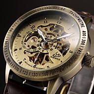 Męskie Zegarek na nadgarstek zegarek mechaniczny Nakręcanie automatyczne Grawerowane Skóra Pasmo Ekskluzywne Czarny Brązowy