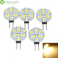 5W G4 Focos LED MR11 9 SMD 5730 360-450 lm Blanco Cálido Regulable DC 12 / AC 12 V 5 piezas