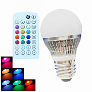 SchöneColors Lâmpada Redonda Regulável / Controle Remoto / Decorativa B22 / E26/E27 4 W 300 LM 6500K K RGB 1PCS LED de Alta Potência 1 pç