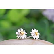 Kolczyki na sztyft Srebro standardowe Flower Shape Stokrotka White Yellow Biżuteria Na Ślub Impreza Codzienny 2pcs