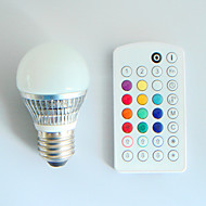 1pcs SchöneColors E26/E27 /B22 4W 300LM RGB A50 Dimmable/Remote-Controlled/Music-Controlled LED Globe Bulbs AC110-240V
