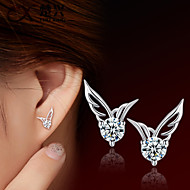 Wings/Feather Stud Earrings Jewelry Women Wedding Party Daily Crystal Silver Plated 2pcs