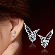 スタッドピアス ファッション かわいいスタイル クリスタル 銀メッキ 翼 / 羽 シルバー ジュエリー のために 結婚式 パーティー 日常 カジュアル 2 個