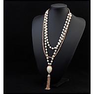 女性 ステートメントネックレス パールネックレス 真珠 合金 ファッション ホワイト ジュエリー パーティー 誕生日