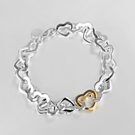 """Fashion 925 Silver Sterling """"Gold Heart""""Chain & Link Bracelets For Woman&Lady Christmas Gifts"""