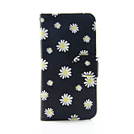 iPod touchの5/6のための黄色の花PUレザー財布フルボディケース