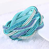 女性 ラップブレスレット レザー ラインストーン 模造ダイヤモンド ユニーク ファッション ジュエリー ローズ レッド グリーン ブルー ライトブルー ジュエリー 1個