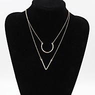 Fashion Women 2 Lays Metal  Pendant Necklace