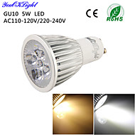 YouOKLight® 1PCS GU10 5W 450lm 3000K/6000K 5-High Power LED SpotLight Bulb Lamp  (AC110-120V/220-240V)-Silver