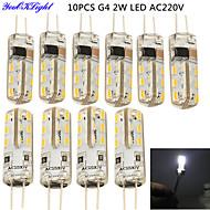 2W G4 Luminárias de LED  Duplo-Pin T 24 SMD 3014 180 lm Branco Frio Decorativa AC 220-240 V 10 pçs