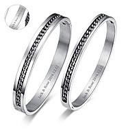 presentes do dia dos namorados dos amantes de jóias personalizadas de aço de titânio pulseiras de prata (um par)