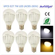 YouOKLight® 6PCS E27 7W 14*SMD5730 600LM  White/Warm White Light LED   Globe Bulbs (AC85~265V/AC110-130V/AC220-240V)
