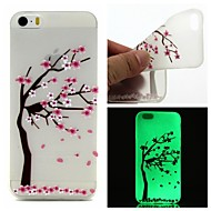 Para Capinha iPhone 5 Brilha no Escuro / Translúcido / Estampada Capinha Capa Traseira Capinha Flor Macia TPU iPhone SE/5s/5