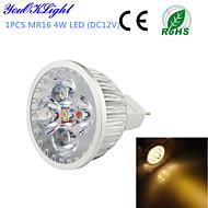 YouOKLight® 1PCS MR16 4W 320lm 3000K 4-High Power LED Warm White Light Spotlight - Silver(DC12V)