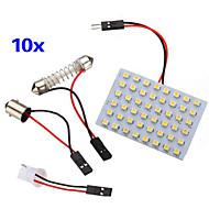 10 Pcs 3528 SMD LED Panel 48 Warm White LED Light +T10/BA9S Module + Double Tip(DC 12V)