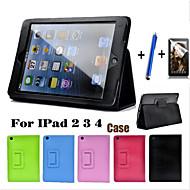 auto trezesc magnetice în sus flip-somn caz din piele litchi pentru iPad 2/3/4 comprimat capac cu dispozitiv de protectie ecran gratuit +