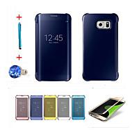 Mert Automatikus készenlét/ébresztés / Galvanizálás / Tükör / Flip Case Teljes védelem Case Egyszínű Kemény PC SamsungS6 edge plus / S6