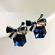 Pisarakorvakorut Kristalli Gemstone Metalliseos Bowknot Shape Sininen Korut Varten 2pcs