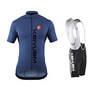 KEIYUEM® Cykeltrøje og Bib-shorts Herre / Unisex Kort Ærme CykelVandtæt / Vindtæt / Støv-sikker / letvægtsmateriale / 3D Måtte /