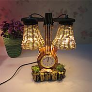 kreative Holz der Geige mit Uhr Doppel Glühbirne Container Dekoration Schreibtischlampe Schlafzimmerlampe Geschenk für Kind